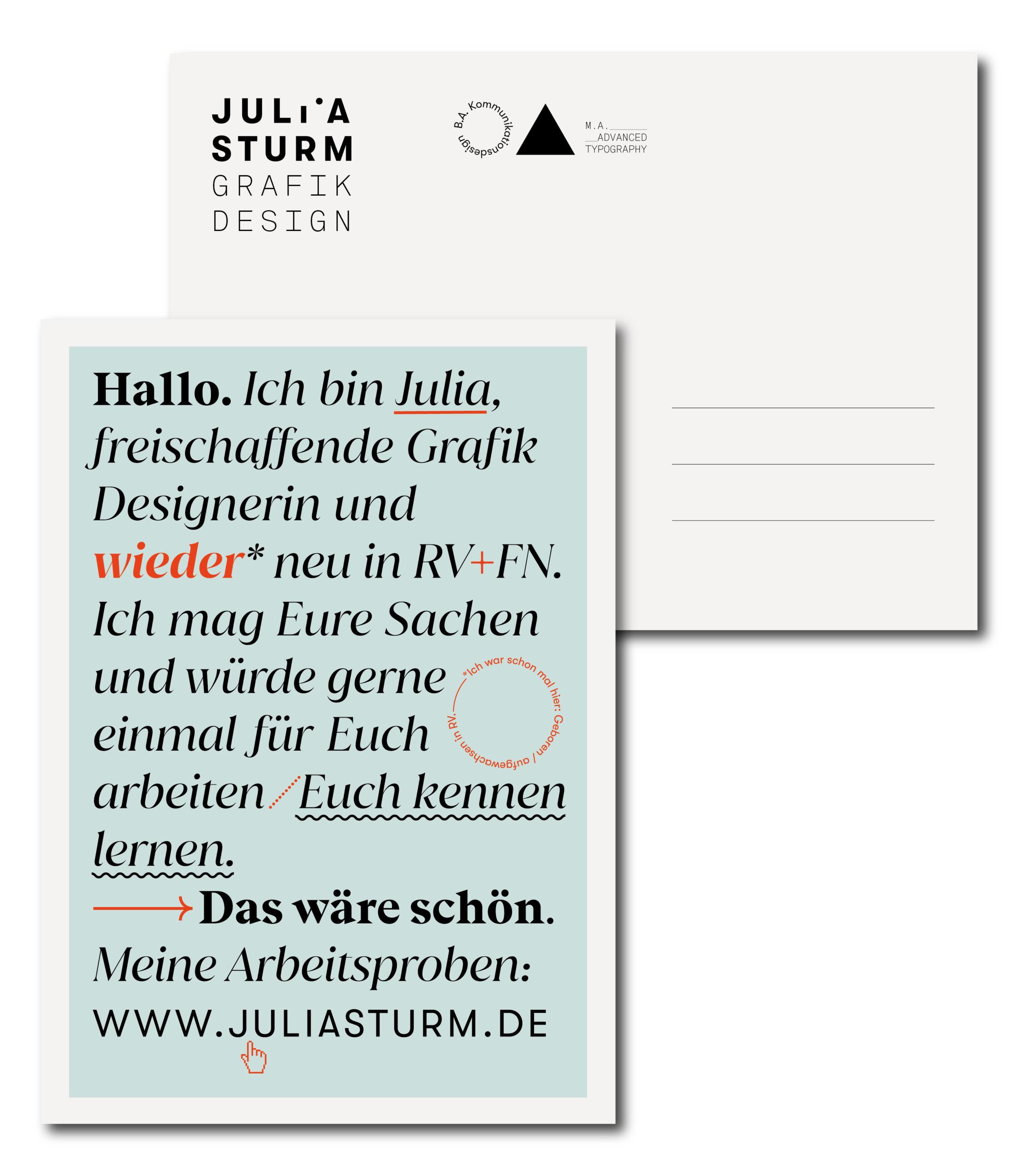 Julia Sturm Postkarte Hallo